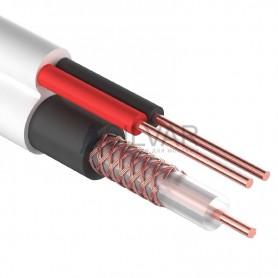 Комбинированный кабель для видеонаблюдения ККСВ-В+2х0.5 мм. , 305м., белый  REXANT