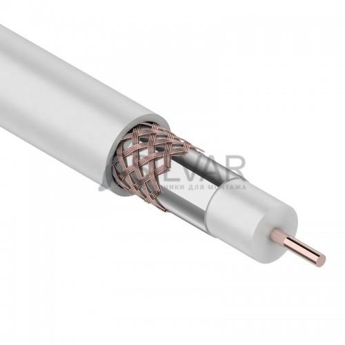 Кабель коаксиальный RG-6U+Cu,  Cu/Al/Cu 48%, белый, 100м,  PROconnect
