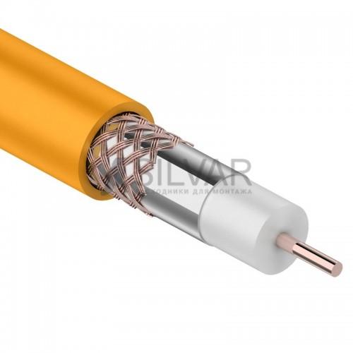 Кабель коаксиальный RG-6U нг(А)-HF, Cu/Al/Cu 64%, оранжевый, 100м,  REXANT