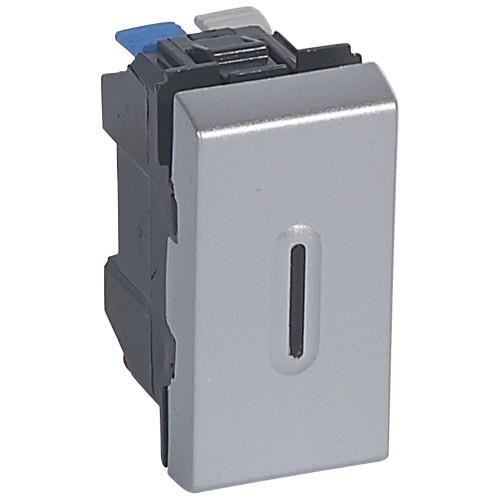 Выключатель кнопочный 1 модуль с подсветкой Legrand Mosaic 079232 алюминий