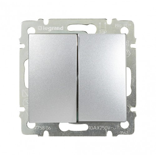 Выключатель 2-кл. Legrand Valena 770105 алюминий