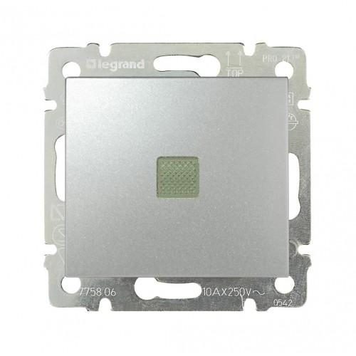 Выключатель 1-кл. с подсветкой Legrand Valena 770110 алюминий