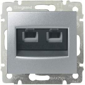 Розетка компьютерная RJ11х2 Legrand Valena 770139 алюминий
