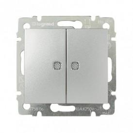 Выключатель 2-кл. с  индикаторами Legrand Valena 770213 алюминий