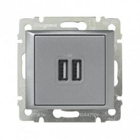 Розетка USB двойная Legrand Valena 770270 алюминий