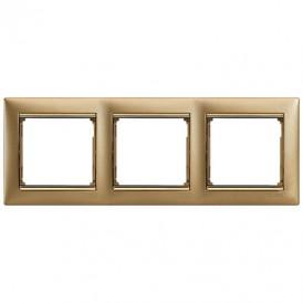 Рамка 3-постовая Legrand Valena 770303 матовое золото