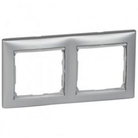 Рамка 2-постовая Legrand Valena 770352 алюминий/серебро