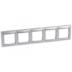 Рамка 5-постовая Legrand Valena 770355 алюминий/серебро