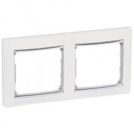 Рамка 2-постовая Legrand Valena 770492 белая/серебро