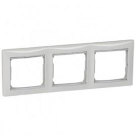 Рамка 3-постовая Legrand Valena 770493 белая/серебро