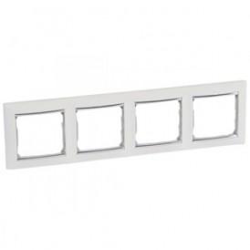 Рамка 4-постовая Legrand Valena 770494 белая/серебро
