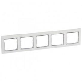Рамка 5-постовая Legrand Valena 770495 белая/серебро