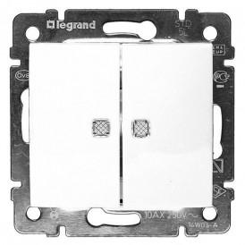 Переключатель 2-кл. на 2 направления  с подсветкой Legrand Valena 774212 белый