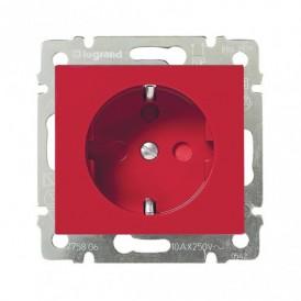 Розетка с заземлением с блокировкой Legrand Valena 774327 красная