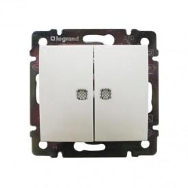 Выключатель 2-кл. с подсветкой Legrand Valena 774428 белый