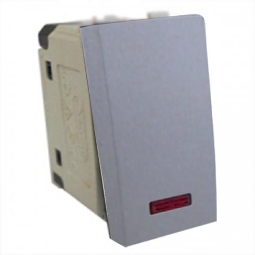 Выключатель с индикатором 45х22,5 мм серебристый металлик Экопласт LK45