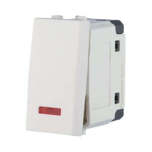 Выключатель с индикатором 45х22,5 мм белый Экопласт LK45