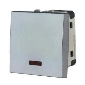 Выключатель с индикатором 45х45 мм серебристый металлик Экопласт LK45