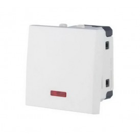 Выключатель с индикатором 45х45 мм белый Экопласт LK45
