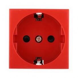 Розетка с заземлением Экопласт LK45 со шторками глянцевая красная