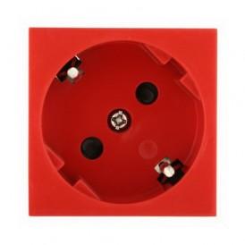 Розетка 45° с заземлением Экопласт LK45, со шторками красная