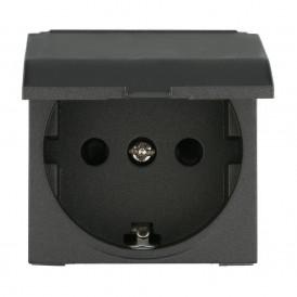 Розетка с крышкой с заземлением Экопласт LK45,со шторками черный бархат