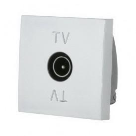 Розетка TV телевизионная Экопласт LK45 серебристый металлик