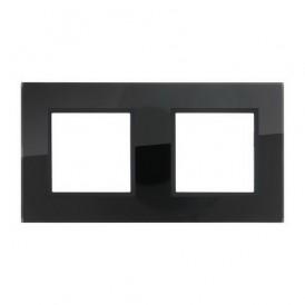 Рамка 2-постовая из натурального темного стекла LK45 Экопласт