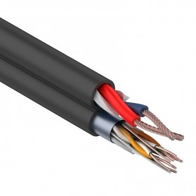 Комбинированный кабель для видеонаблюдения FTP 4PR+2х0,75 мм², черный,  200м,  REXANT