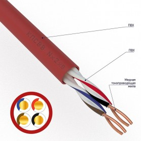 Кабель для пожарной сигнализации REXANT КПСВВ 2x2x0,50 мм², бухта 200м