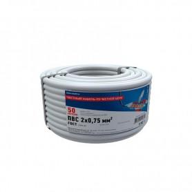 Провод соединительный ПВС 2x0,75 мм², белый, длина 50 метров, ГОСТ 7399-97  REXANT