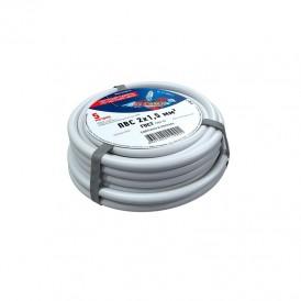 Провод соединительный ПВС 2x1,5 мм², белый, длина 5 метров, ГОСТ 7399-97  REXANT