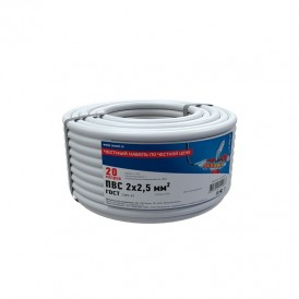 Провод соединительный ПВС 2x2,5 мм², длина 20 метров, ГОСТ 7399-97  REXANT