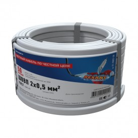 Провод ШВВП 2х0,5 мм², длина 50 метров, ГОСТ 7399-97  REXANT