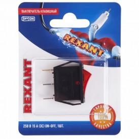Выключатель клавишный 250V 15А (3с) ON-OFF красный  с подсветкой (RWB-404, SC-791, IRS-101-1C)  REXANT (в упак. 1шт.)