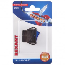 Выключатель клавишный 250V 16А (4с) ON-OFF синий  с подсветкой (RWB-502, SC-767, IRS-201-1)  REXANT (в упак. 1шт.)