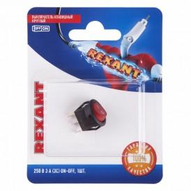Выключатель клавишный круглый 250V 3А (3с) ON-OFF красный  с подсветкой  Micro  (RWB-106, SC-214)  REXANT (в упак. 1шт.)
