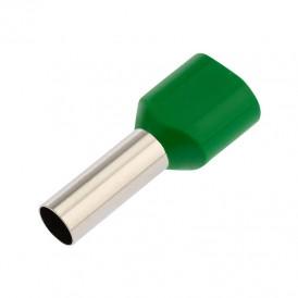 Наконечник штыревой втулочный изолированный F-14 мм 2х6 мм² (НШВи(2) 6.0-14/НГи2 6,0-14) зеленый REXANT