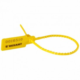 Пломба пластиковая номерная 255 мм желтая REXANT