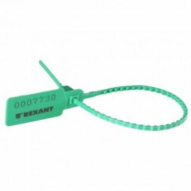 Пломба пластиковая номерная 255 мм зеленая REXANT