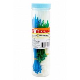 Набор хомутов-стяжек нейлоновых REXANT 100, 150, 200 мм, цветные, НХ-1, тубус 200 шт.