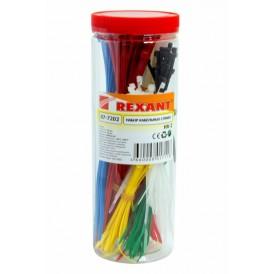 Набор хомутов-стяжек нейлоновых REXANT 100, 200 мм, цветные, НХ-2, тубус 300 шт.
