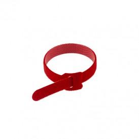 Хомут–липучка многоразовый REXANT 230х13 мм, красный, упаковка 12 шт.