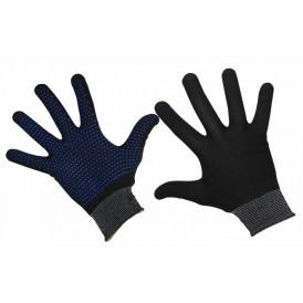 Перчатки нейлоновые с частичным покрытием ладони и пальцев «Точка» ПВХ черные