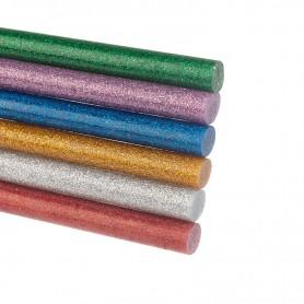 Стержни клеевые REXANT Ø 11 мм, 100 мм, цветные с блестками (12 шт./уп.) (блистер)