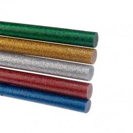 Стержни клеевые REXANT Ø 11 мм, 270 мм, цветные с блестками (10 шт./уп.) (хедер)