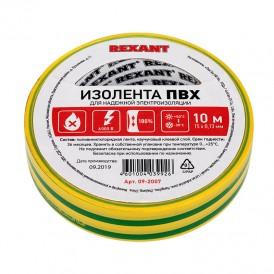 Изолента ПВХ REXANT 15 мм х 10 м, желто-зеленая, упаковка 10 роликов