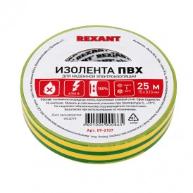 Изолента 15ммх25м Rexant 09-2107 желто-зеленая