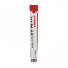 Припой без канифоли ПОС-40 REXANT, 10 г, Ø1.0 мм, (олово 40%, свинец 60%), колба