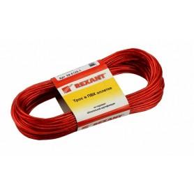 Трос стальной в ПВХ изоляции d=2.5мм, моток 20 метров Rexant 09-5125-1 красный